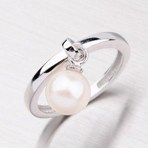 Stříbrný prsten s říční perlou ORT05-3-R