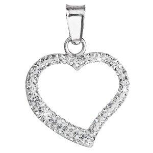 Stříbrný přívěsek s krystaly Swarovski bílé srdce 34093.1 34093.1 KRYSTAL