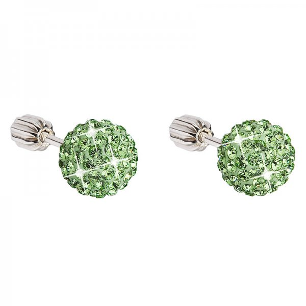 Stříbrné náušnice pecky s krystaly zelené kulaté 31111.3 31111.3