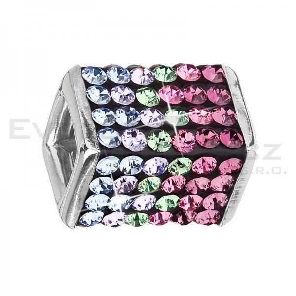 Stříbrný přívěsek s krystaly fialová kostička 34134.3 34134.3