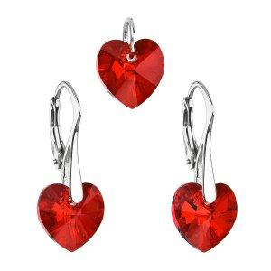 Sada šperků s krystaly Swarovski náušnice a přívěsek červená srdce 39003.4 39003.4-208AB