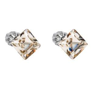 Stříbrné náušnice pecka s krystaly Swarovski hnědý čtverec 31065.3 31065.3 LIGT SILK