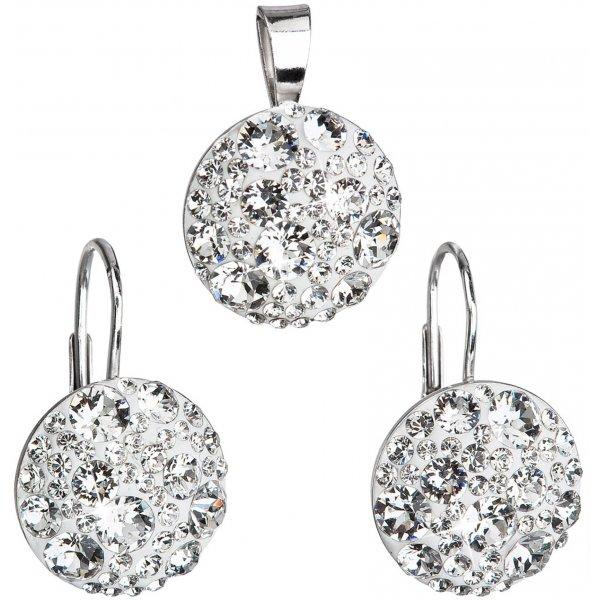 Sada šperků s krystaly Swarovski náušnice a přívěsek bílé kulaté 39117.1 39117.1 KRYSTAL