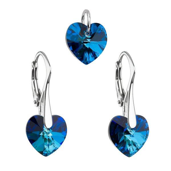 Sada šperků s krystaly Swarovski náušnice a přívěsek modrá srdce 39003.5 bermuda blue 39003.5-001BBL