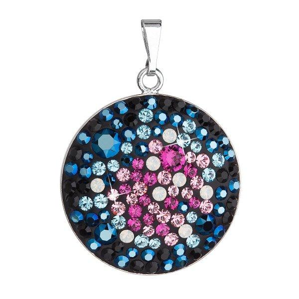 Stříbrný přívěsek s krystaly Swarovski mix barev modrá růžová kulatý 34131.4 galaxy 34131.4 GALAXY