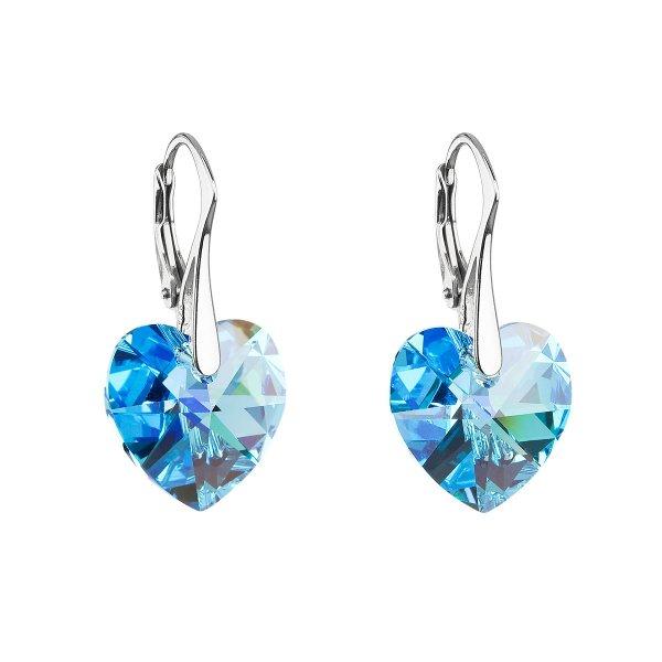 Stříbrné náušnice visací s krystaly Swarovski modré srdce 31012.4 31012.4-202AB
