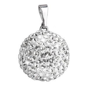 Stříbrný přívěsek s krystaly Swarovski bílý kulatý 34081.1 34081.1-001