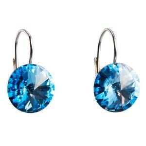 Stříbrné náušnice visací s krystaly Swarovski modré kulaté 31106.3 aquamarine 31106.3-202