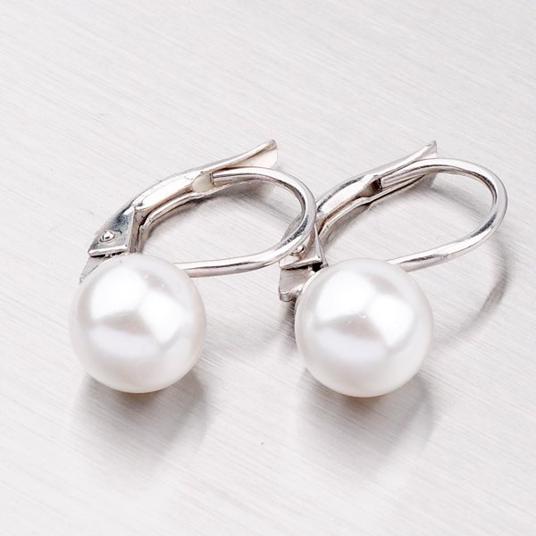 Náušnice s bílou perlou 8 mm YNG2008