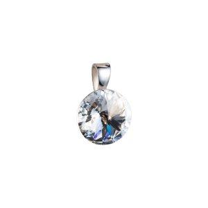 Stříbrný přívěsek s krystaly Swarovski bílý kulatý-rivoli 34112.1 34112.1-001