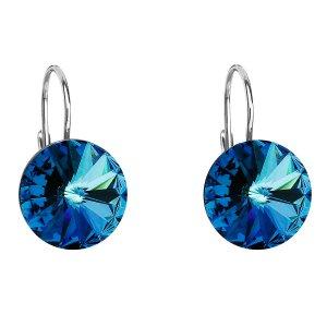 Stříbrné náušnice visací s krystaly Swarovski modré kulaté 31106.5 31106.5 BERMUDA BLUE