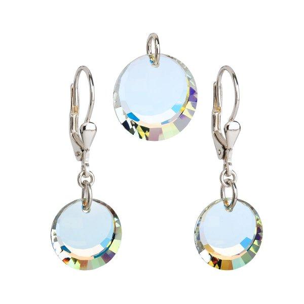 Sada šperků s krystaly Swarovski náušnice a přívěsek AB efekt bílé kulaté 39017.2 39017.2-001AB