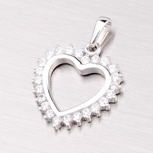Stříbrný přívěsek - srdce se zirkony GKL788