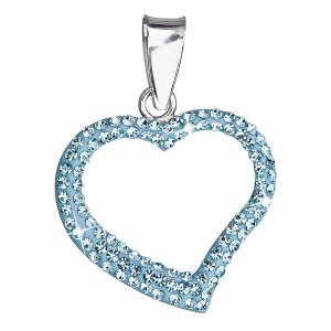 Stříbrný přívěsek s krystaly Swarovski modré srdce 34093.3 34093.3 AQUA
