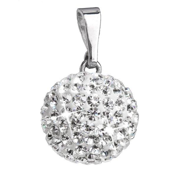 Stříbrný přívěsek s krystaly Swarovski bílý kulatý 34080.1 34080.1-001