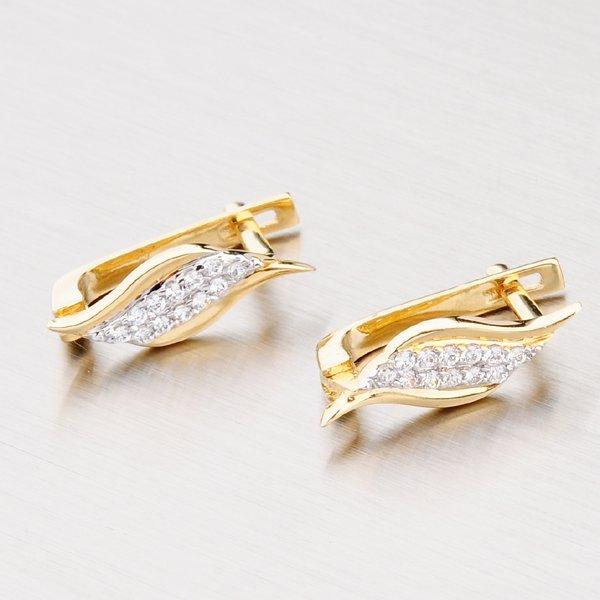 Zlaté náušnice se zářivými zirkony 42-3403