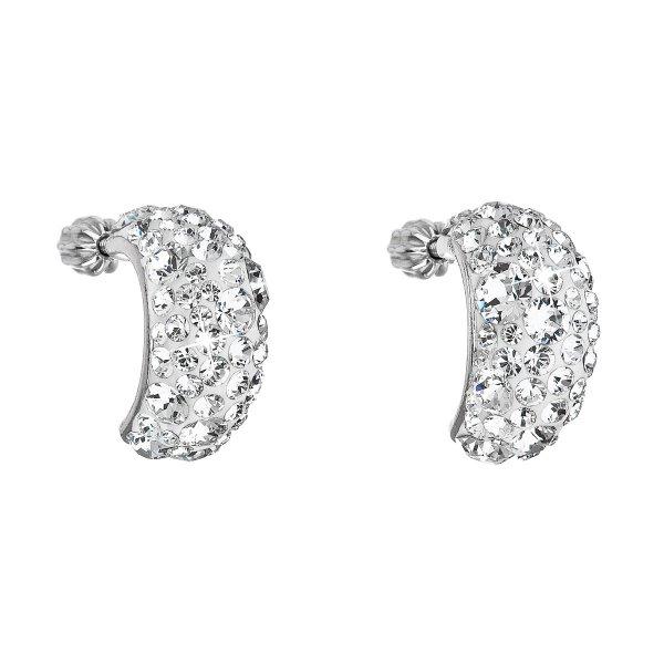 Stříbrné náušnice visací s krystaly Swarovski bílý půlkruh 31164.1 31164.1 KRYSTAL
