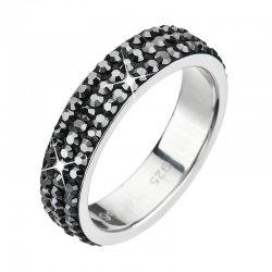 Stříbrný prsten s krystaly Swarovski černý 35001.5 35001.5 HEMATITE