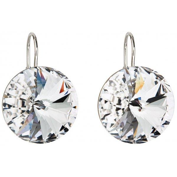 Stříbrné náušnice visací s krystaly Swarovski bílé kulaté 31153.1 31153.1