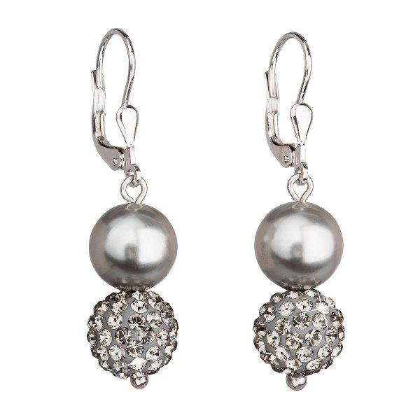 Stříbrné náušnice visací se syntetickými perlami a krystaly Swarovski šedé kulaté 31155.3 31155.3 GREY