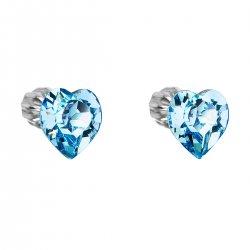 Stříbrné náušnice pecka s krystaly Swarovski modré srdce 31139.3 31139.3 AQUA