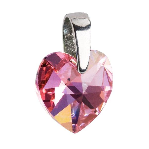 Stříbrný přívěsek s krystaly Swarovski AB efekt růžové srdce 34003.4 34003.4-223AB