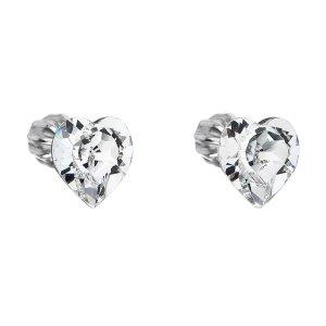 Stříbrné náušnice pecka s krystaly Swarovski bílé srdce 31139.1 31139.1 KRYSTAL