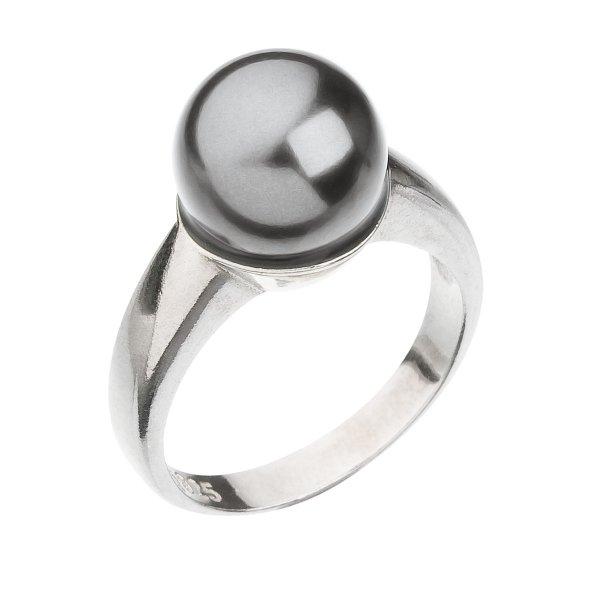 Stříbrný prsten se Swarovski perlou šedý 35022.3 35022.3 GREY