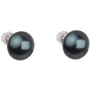 Stříbrné náušnice pecka s perlou Swarovski zelené kulaté 31142.3 tahiti 31142.3 TAHITI