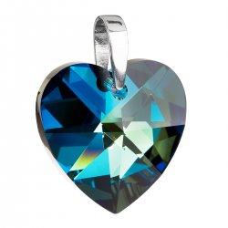 Stříbrný přívěsek s krystaly Swarovski modré srdce 34002.5 34002.5-001BBL