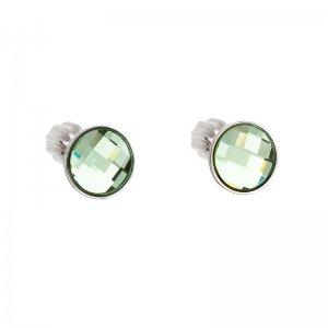 Stříbrné náušnice pecka s krystaly Swarovski zelené kulaté 31137.3 31137.3