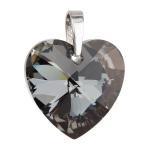 Stříbrný přívěsek s krystaly Swarovski černé srdce 34004.4 34004.4-001SN