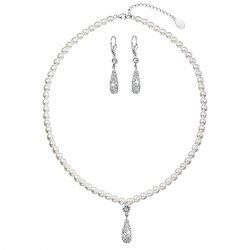 Sada šperků se syntetickými perlami a krystaly Swarovski náušnice a přívěsek bílá slza 39121.1 39121.1 BÍLÁ