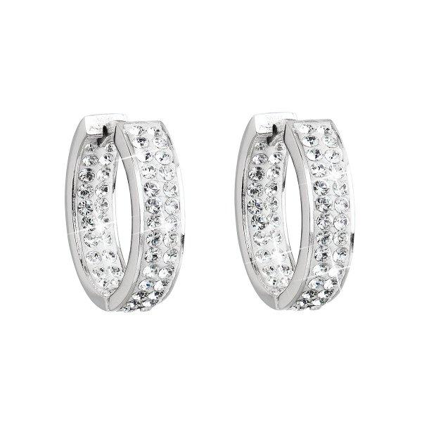 Stříbrné náušnice kruhy s krystaly Swarovski bílý kruh 31120.1 31120.1-001