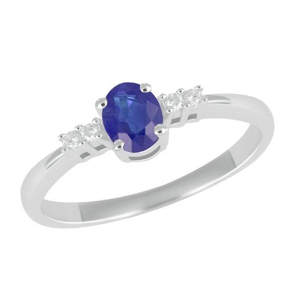 Zlatý prsten se safírem a diamanty GKW26153