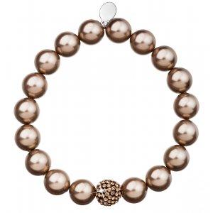 Perlový náramek hnědý s krystaly Swarovski 33074.3 33074.3 BRONZE