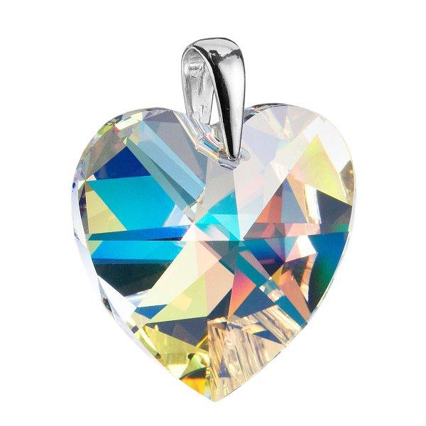 Stříbrný přívěsek s krystaly Swarovski AB efekt srdce 34004.2 34004.2-001AB