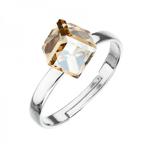 Stříbrný prsten s krystaly zlatá kostička 35011.5 35011.5 GOLD SHADOW