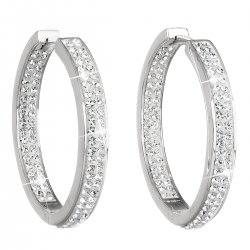 Stříbrné náušnice kruhy s krystaly Swarovski bílý kruh 31122.1 31122.1 KRYSTAL