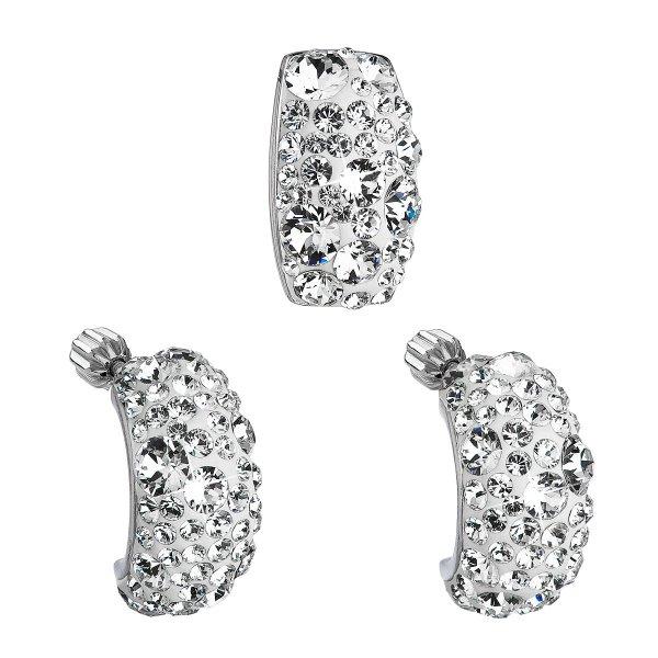 Sada šperků s krystaly Swarovski náušnice a přívěsek bílý obdélník 39116.1 39116.1 KRYSTAL