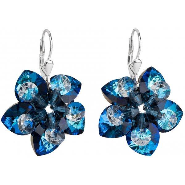 Stříbrné náušnice visací s krystaly Swarovski modrá kytička 31130.5 31130.5-001BBL