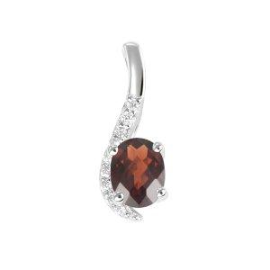 Přívěsek s granatém a diamanty GKW52383