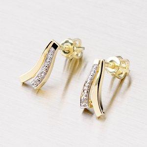 Zlaté náušnice se zirkony 42-3110