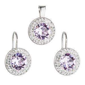 Sada šperků s krystaly Swarovski náušnice a přívěsek fialové kulaté 39107.3 39107.3 VIOLET