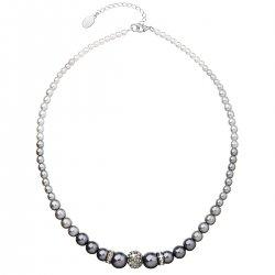 Perlový náhrdelník šedý s krystaly Swarovski 32008.3 32008.3 GREY