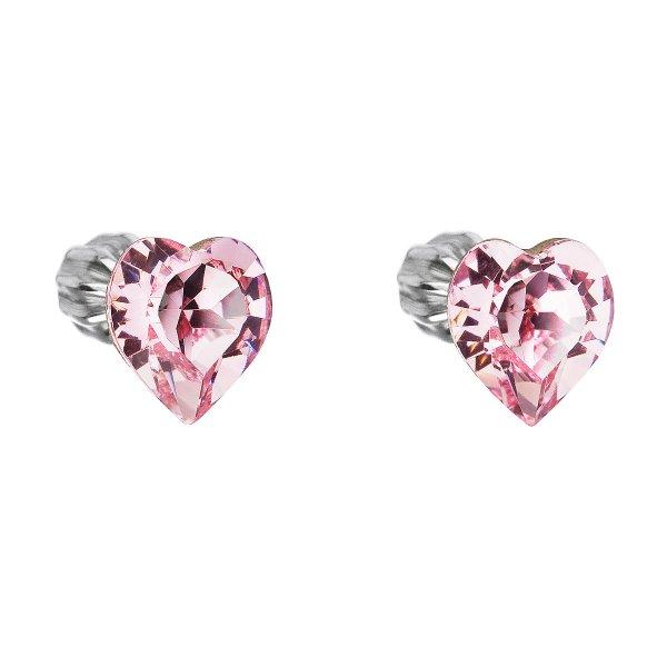 Stříbrné náušnice pecka s krystaly Swarovski růžové srdce 31139.3 31139.3 ROSE