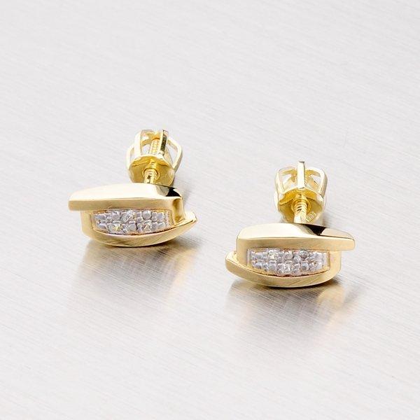 Zlaté náušnice s bílými zirkony 42-3122