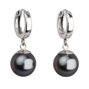 Stříbrné náušnice visací s perlou Swarovski šedé kulaté 31151.3 31151.3 GREY