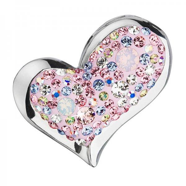 Stříbrný přívěsek s krystaly mix barev srdce 34184.3 magic rose 34184.3