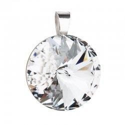 Stříbrný přívěsek s krystaly Swarovski bílý kulatý-rivoli 34071.1 34071.1-001
